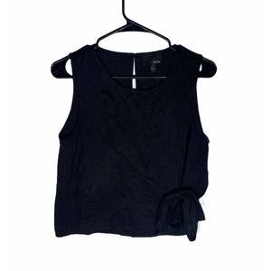 Greylin Black Front Tie Cropped Tank Top